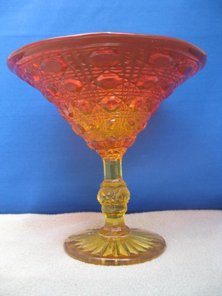 Vintage Amberina Pressed Glass Stem Compote Red Yellow