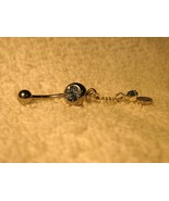 BELLY NAVEL RING BLUE TOPAZ COIN DANGLE #682C - $7.99