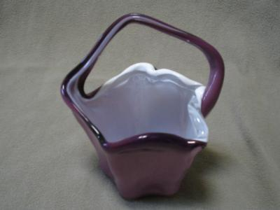 Norleans Cased Blown Glass Basket Amethyst Purple