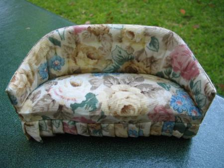 Miniature Dollhouse Floral Cushioned Sofa Couch