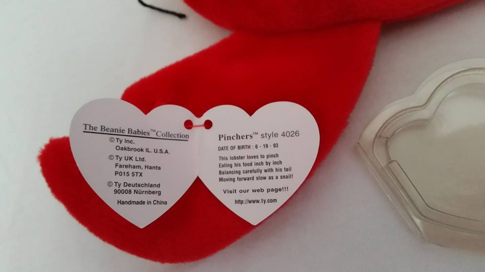 TY Beanie Babies Pinchers Lobster PVC PELLETS Style # RARE ERRORS Retired image 2