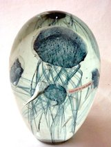 Glass Jellyfish 5.5 Inches Tall, Double Layer Blue Paperweight