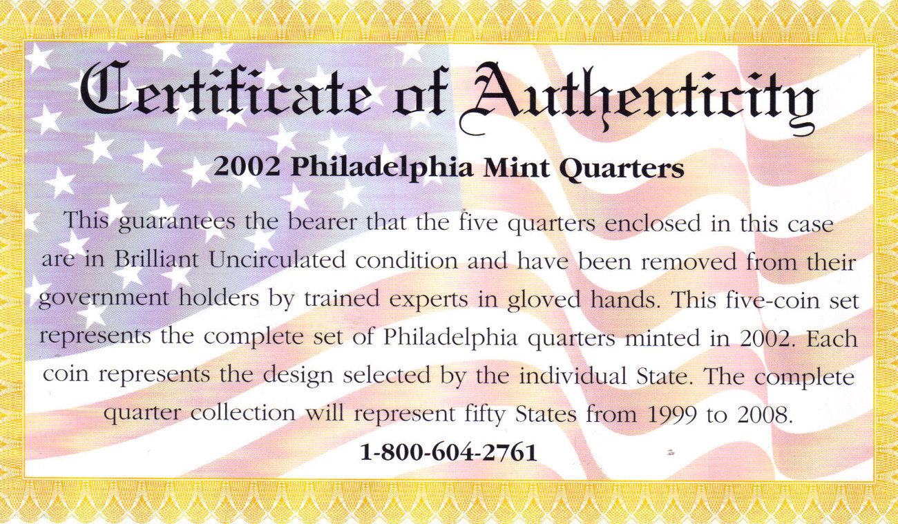2002 PHILADELPHIA  MINT EDITION STATE QUARTER COLLECTION