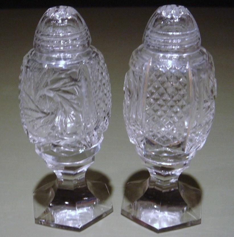 Salt   pepper  footed cut glass 1
