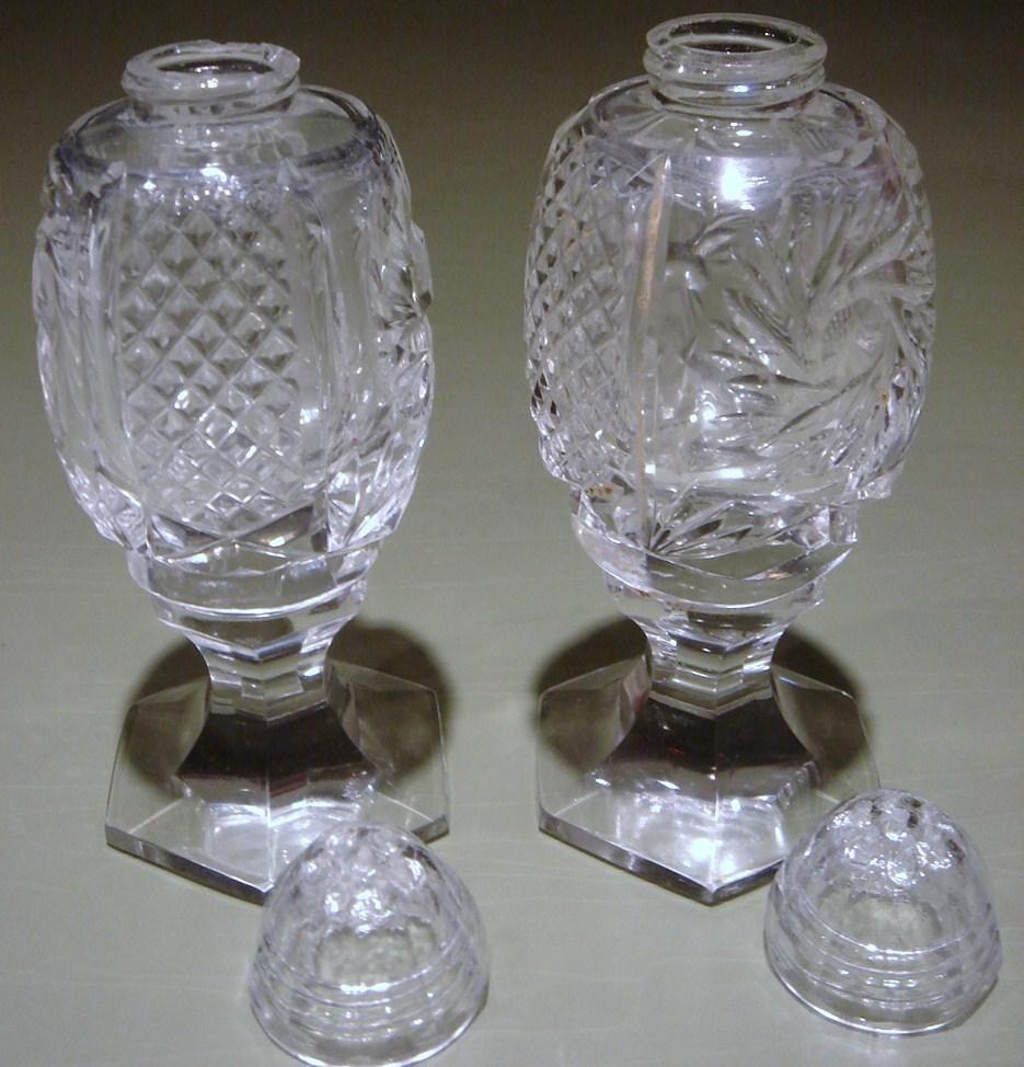 Super Pr. Footed Cut Glass Salt, Pepper Shakers
