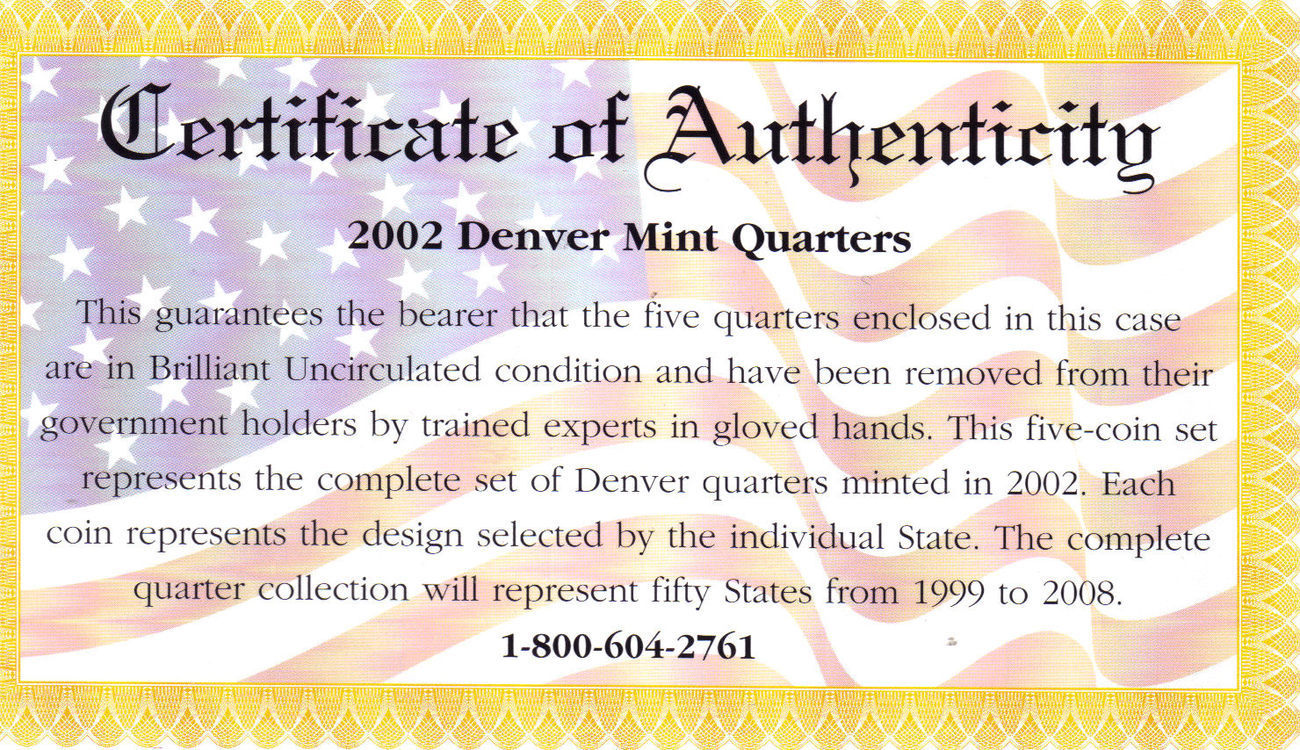 2002 DENVER  MINT EDITION STATE QUARTER COLLECTION