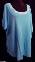 NOTATIONS Woman 3X Knit top Blue white stretchy NEW - $16.00