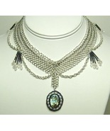 Chainmail Necklace Argentium Sterling Silver Abalone  & Pearl Chainmaill... - $278.99