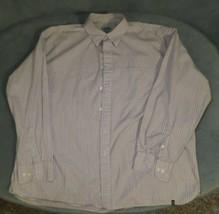 "IZOD Brown White Striped Button Front Shirt Short Sleeve XXL N18"" L32"" C... - $9.74"