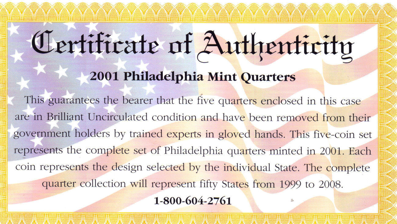 2001 PHILADELPHIA  MINT EDITION STATE QUARTER COLLECTION