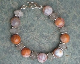 Fire Agate,Quartz  Gemstone & Sterling Silver Bracelet - $33.99