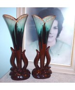 Two CCC Pottery Tall Vases Canadian Ceramic Craft Flame Glaze - $48.00