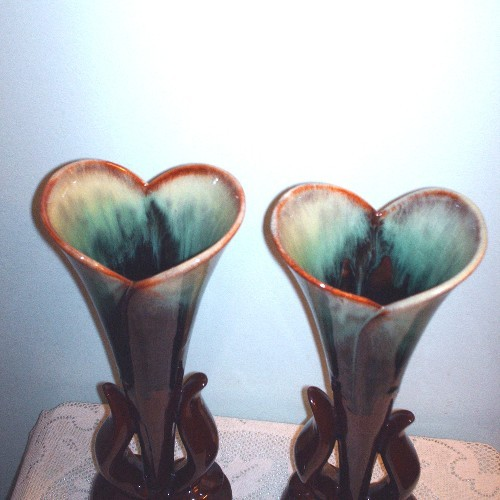 Two CCC Pottery Tall Vases Canadian Ceramic Craft Flame Glaze