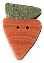 "Large Fat Carrot 2208FL handmade clay button 1"" JABC Just Another Button Co - $1.60"