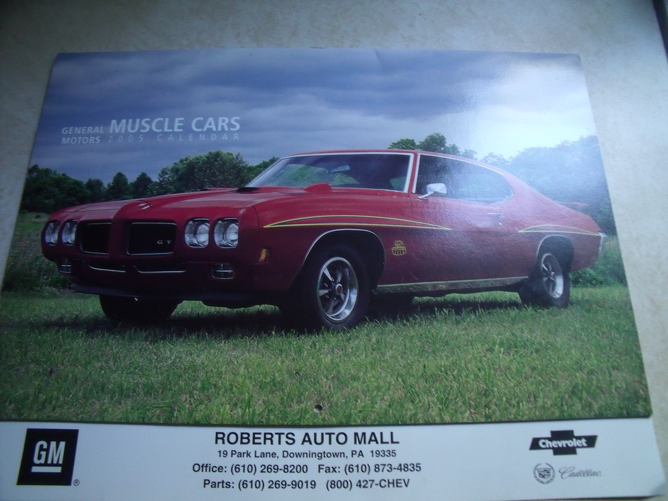 2005 GM Muscle Car Calendar from Roberts Auto Mall, Downingtown PA
