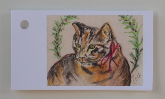 Tabby Cat Art Christmas Holiday Gift Tags Solomon