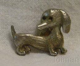 Little dog button pin-looks silver coated copper color - $8.00