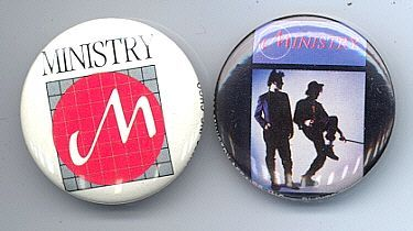 MINISTRY 1983 Pinback Buttons 2 Different