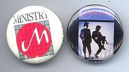 MINISTRY 1983 Pinback Buttons 2 Different - $9.98