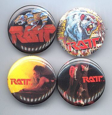 Primary image for RATT Pinback Buttons 4 Different near MINT
