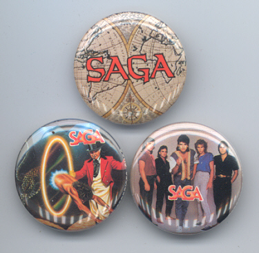 SAGA Pinback Buttons 3 Different near MINT
