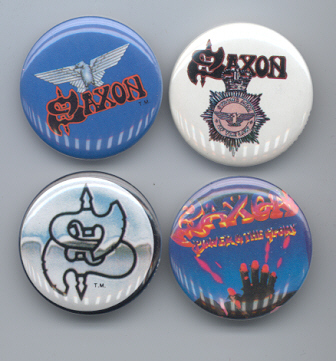Primary image for SAXON Pinback Buttons 4 Different near MINT