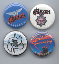 SAXON Pinback Buttons 4 Different near MINT - $14.98