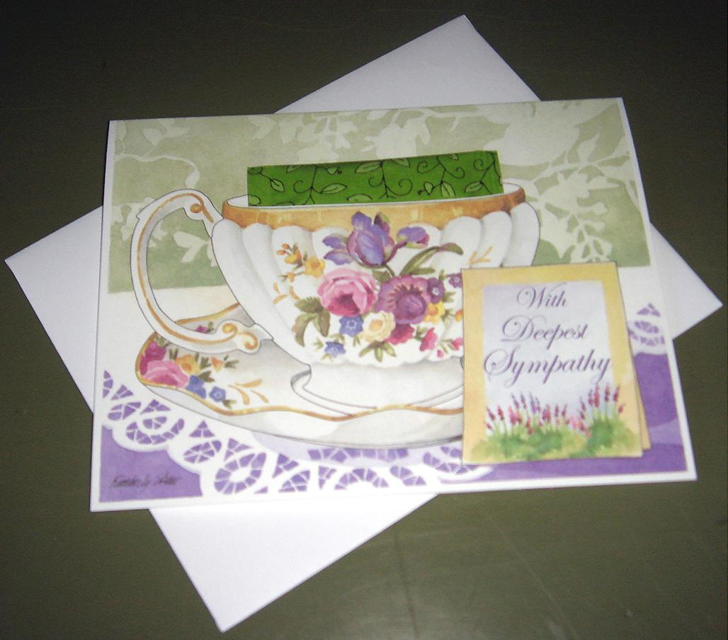 Teacup Greeting Card WITH DEEPEST SYMPATHY