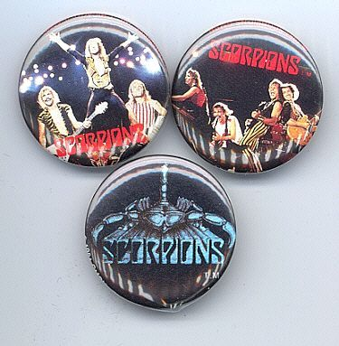 SCORPIONS Pinback Buttons 3 Different near MINT