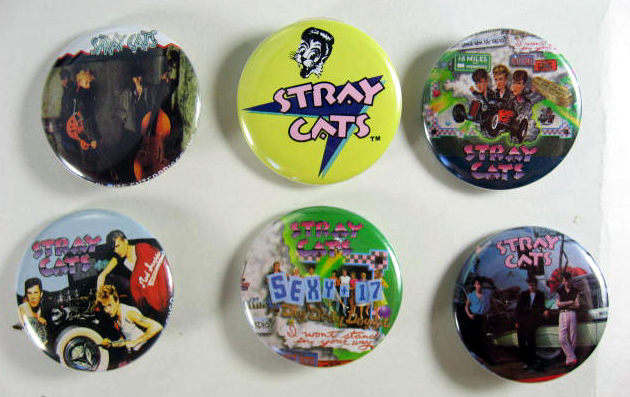 STRAY CATS 1983 Pinback Buttons 6 Different