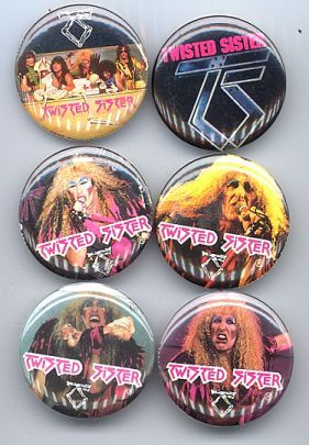 Primary image for Twisted Sister 1984 Set of 6 Pinback Buttons