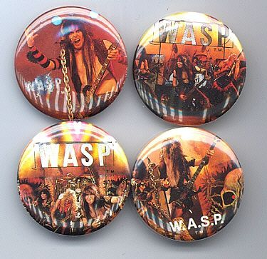 WASP Pinback Buttons 4 Different near MINT
