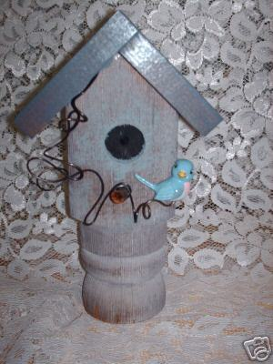 Garden Stake Bird house Handcrafted old porch post-#4