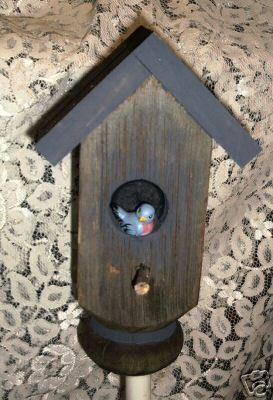 GARDEN STAKE- Bird house theme/ from old porch post