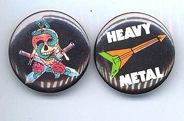 HEAVY METAL Pinback Buttons 2 Different 1982-83