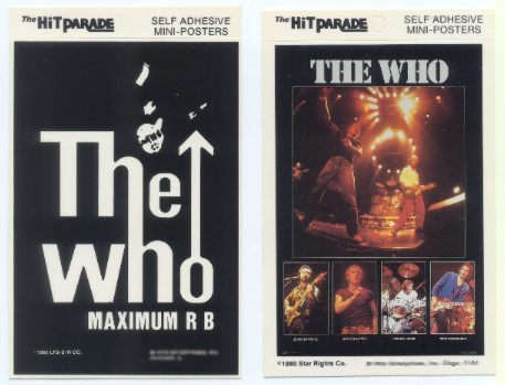 THE WHO 1980 & 1983 Postcard Stickers 2 Different
