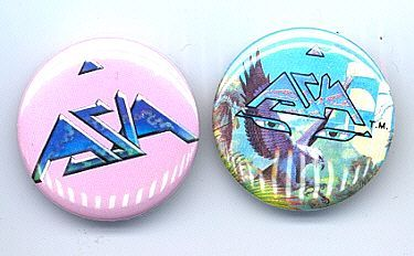 YES ASIA Pinback Buttons 2 Different