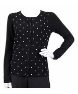 41hawthorn polka dot sweater size s embellished cardigan stitch fix butt... - $41.14