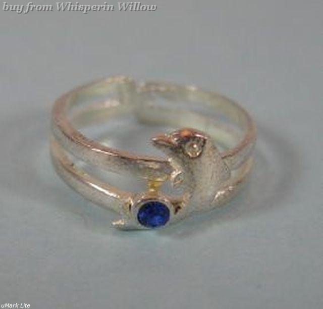 Dolphin With Blue Crystal Toe Ring