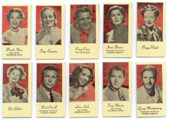 MOVIE & RECORDING STARS 10 OLD WEIGHT & FORTUNE CARD