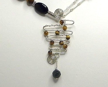 Abstract Tigereye & Black Onyx Gemstone & Sterling Silver Necklace