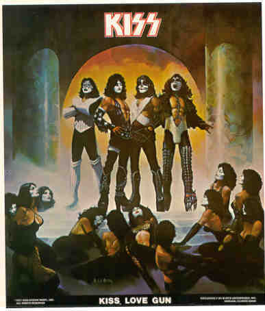 KISS LOVE GUN 1977 Poster Put-On Sticker near MINT