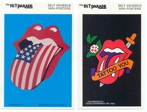 ROLLING STONES 2 Tongue Mini-Poster Stickers near MINT