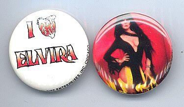 ELVIRA Pinback Buttons 2 Different near MINT