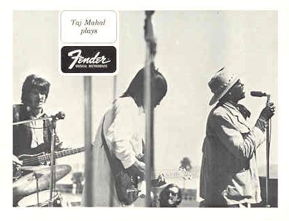 FENDER GUITAR and TAJ MAHAL ORIGINAL 1968 PROMO PHOTO