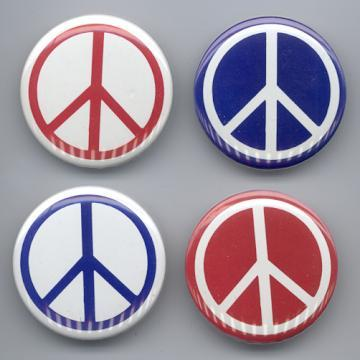 PEACE SIGN PINBACK BUTTONS 4 DIFFERENT 1980's