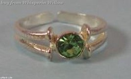 Green Crystal Silver Plated Toe Ring - $9.99