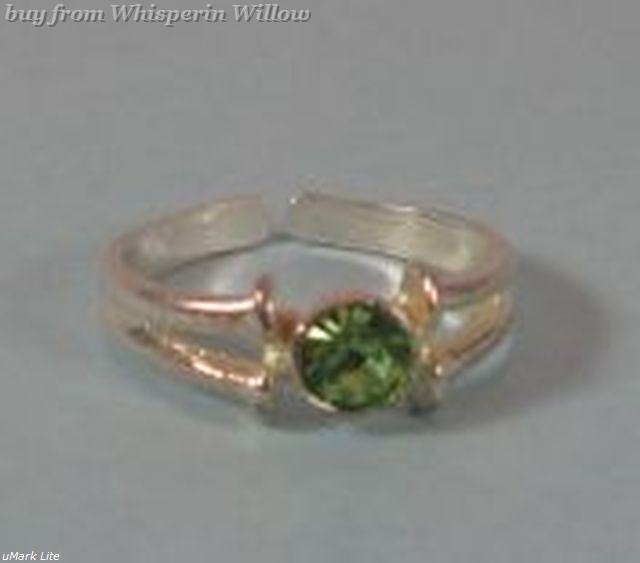Green Crystal Silver Plated Toe Ring