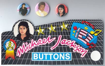 Primary image for MICHAEL JACKSON 3 PINS plus PROMO STICKER 1980's