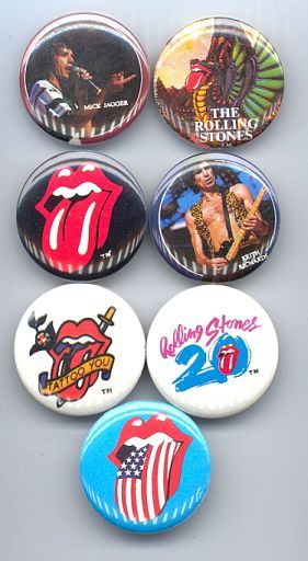 ROLLING STONES 1982-83 Pinback Buttons 7 Different